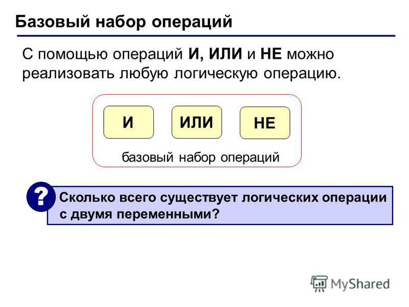 Базовый набор операций С помощью операций И, ИЛИ и НЕ можно реализовать любую логическую операцию. ИЛИИ НЕ базовый набор операций Сколько всего существует логических операции с двумя переменными? ?