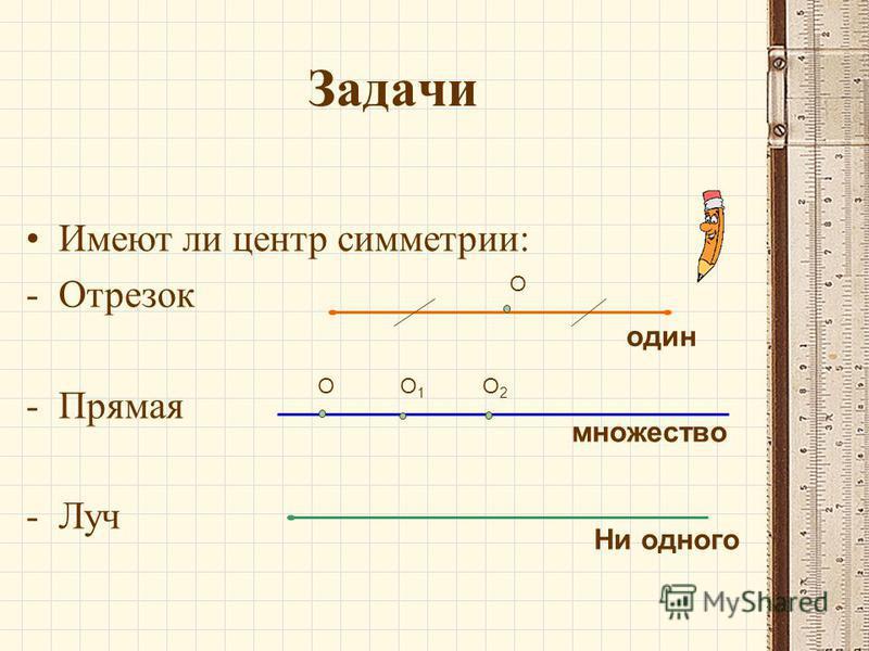 Задачи Имеют ли центр симметрии: -О-Отрезок -П-Прямая -Л-Луч О один множество Ни одного ОО1О1 О2О2