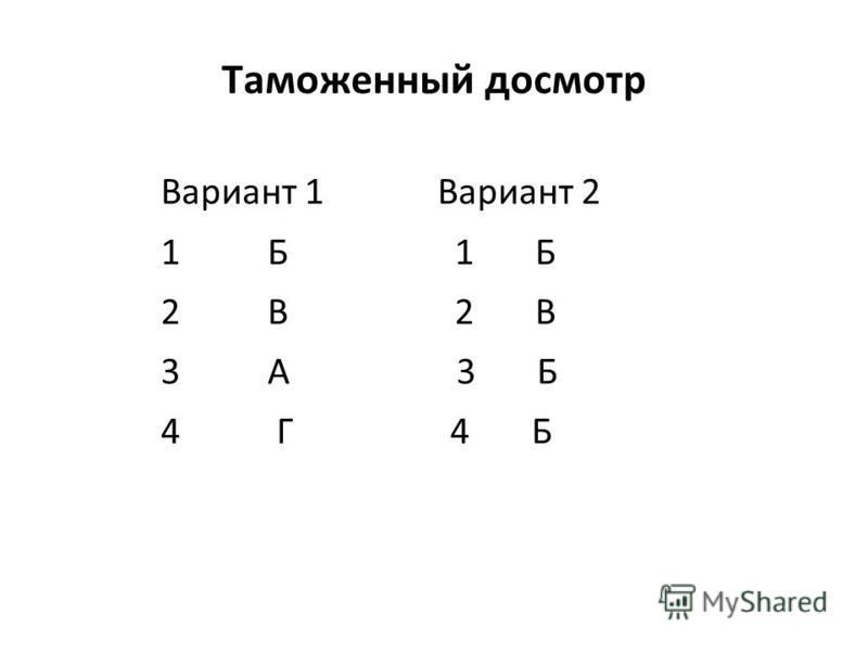 1.1.02 Таможенный досмотр Вариант 1 Вариант 2 1 Б 2 В 3 А 3 Б 4 Г 4 Б