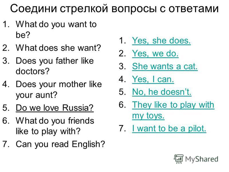Соедини стрелкой вопросы с ответами 1.What do you want to be? 2.What does she want? 3.Does you father like doctors? 4.Does your mother like your aunt? 5.Do we love Russia? 6.What do you friends like to play with? 7.Can you read English? 1.Yes, she do
