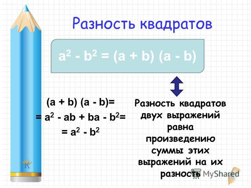 Разность квадратов (a + b) (a - b)= = a 2 - ab + ba - b 2 = = a 2 - b 2 a 2 - b 2 = (a + b) (a - b) Разность квадратов двух выражений равна произведению суммы этих выражений на их разность