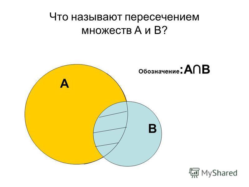 Что называют пересечением множеств А и В? А В Обозначение :АВ