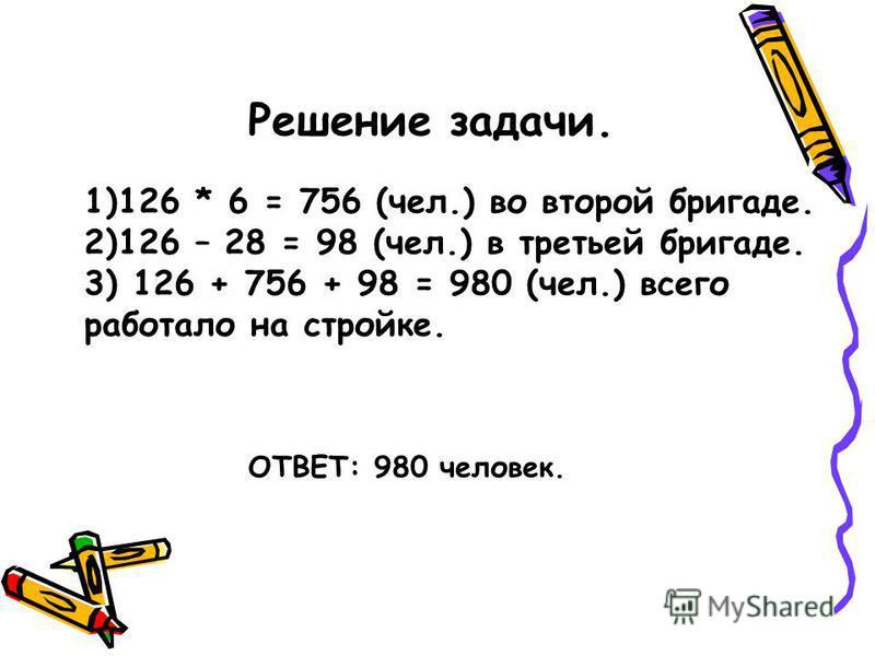 Решение задачи. 1)126 * 6 = 756 (чел.) во второй бригаде. 2)126 – 28 = 98 (чел.) в третьей бригаде. 3) 126 + 756 + 98 = 980 (чел.) всего работало на стройке. ОТВЕТ: 980 человек.