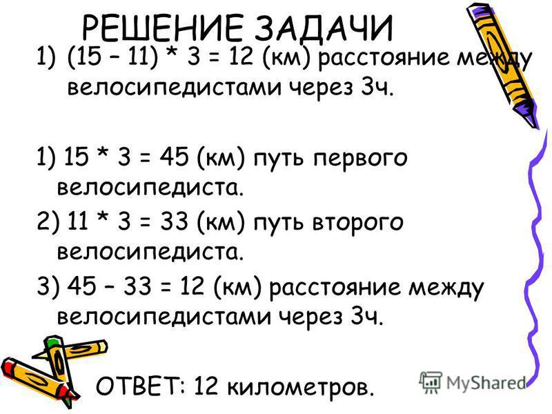 РЕШЕНИЕ ЗАДАЧИ 1)(15 – 11) * 3 = 12 (км) расстояние между велосипедистами через 3 ч. 1) 15 * 3 = 45 (км) путь первого велосипедиста. 2) 11 * 3 = 33 (км) путь второго велосипедиста. 3) 45 – 33 = 12 (км) расстояние между велосипедистами через 3 ч. ОТВЕ