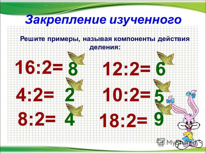 Закрепление изученного 18 Решите примеры, называя компоненты действия деления: 16:2= 4:2= 8:2= 12:2= 10:2= 18:2= 8 2 4 6 5 9