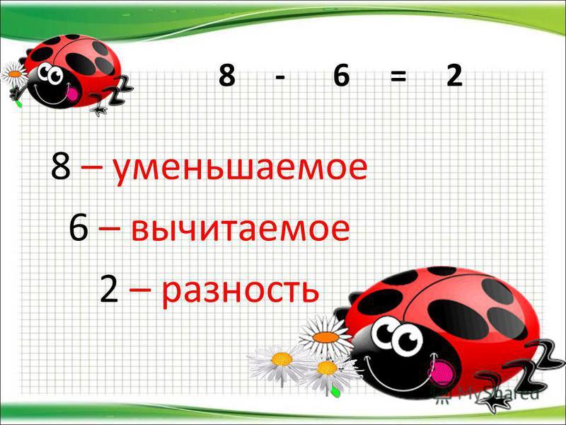 8 - 6 = 2 8 – уменьшаемое 6 – вычитаемое 2 – разность