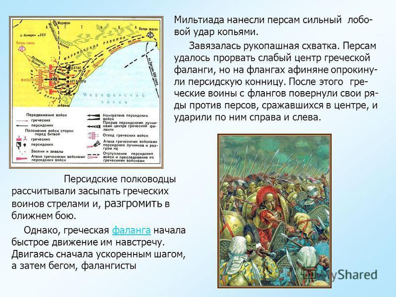 Геродот. «История». …Когда в Афинах стало известно о высадке персов на Мара- фонском побережье, афинские стратеги (военачальники) собрались на совет. Вопрос состоял в том, оставаться ли в городе, ук- рывшись за его стенами и башнями, или выйти в поле