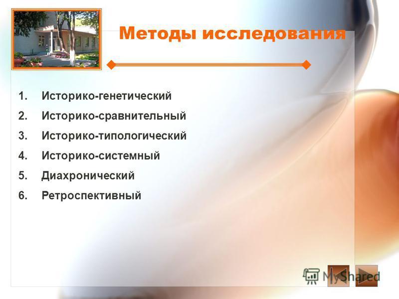 Методы исследования 1. 1.Историко-генетический 2. 2.Историко-сравнительный 3. 3.Историко-типологический 4. 4.Историко-системный 5. 5. Диахронический 6. 6.Ретроспективный