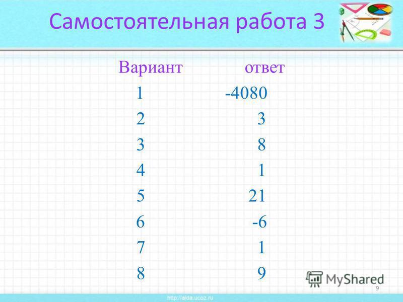 Самостоятельная работа 3 Вариант ответ 1 -4080 2 3 3 8 4 1 5 21 6 -6 7 1 8 9 9