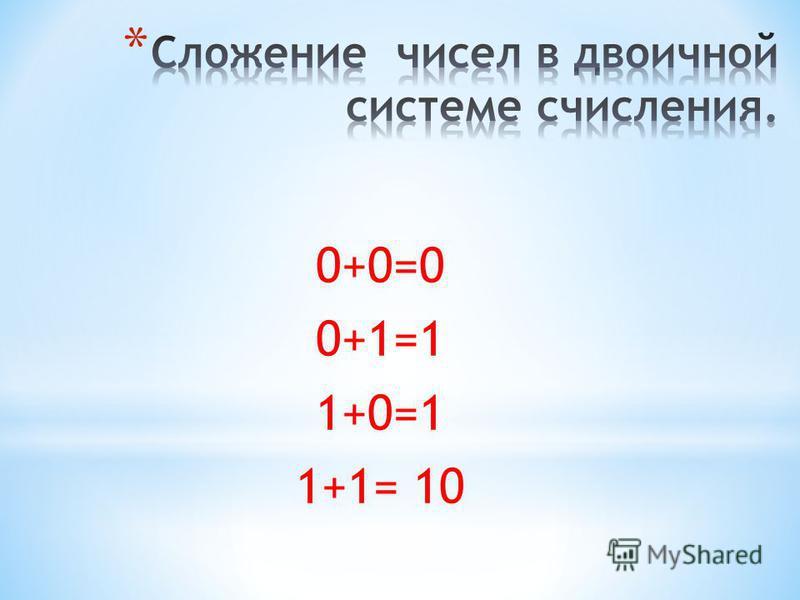 0+0=0 0+1=1 1+0=1 1+1= 10