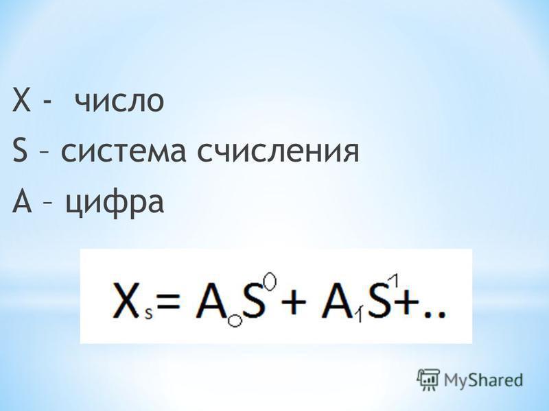Х - число S – система счисления А – цифра
