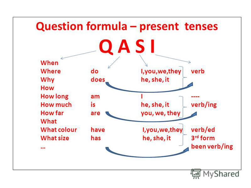 Question formula – present tenses Q A S I When WheredoI,you,we,theyverb Whydoeshe, she, it How How longamI---- How muchishe, she, itverb/ing How far areyou, we, they What What colourhave I,you,we,theyverb/ed What sizehas he, she, it3 rd form …been ve