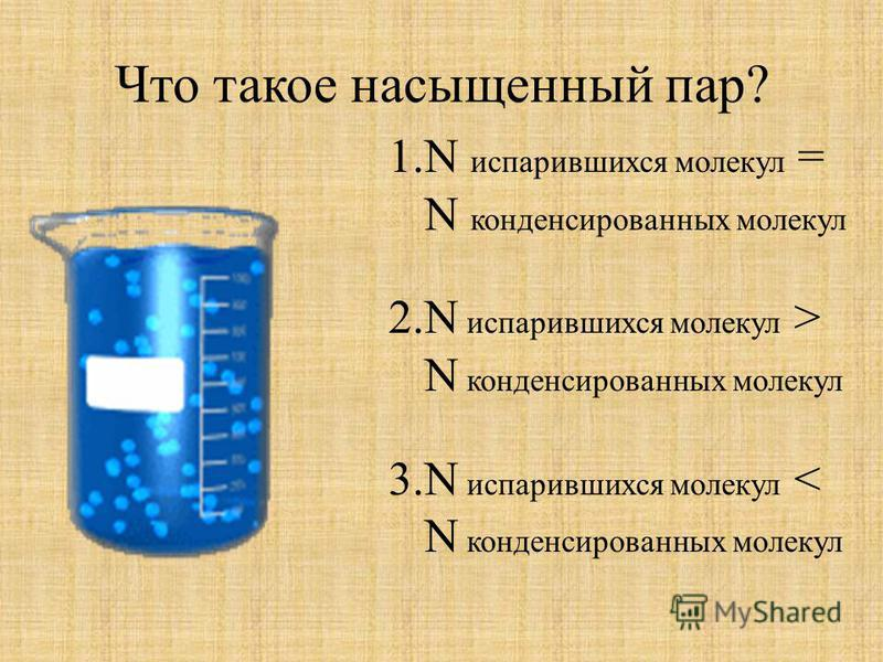 Что такое насыщенный пар? 1. N испарившихся молекул = N конденсированных молекул 2. N испарившихся молекул > N конденсированных молекул 3. N испарившихся молекул < N конденсированных молекул