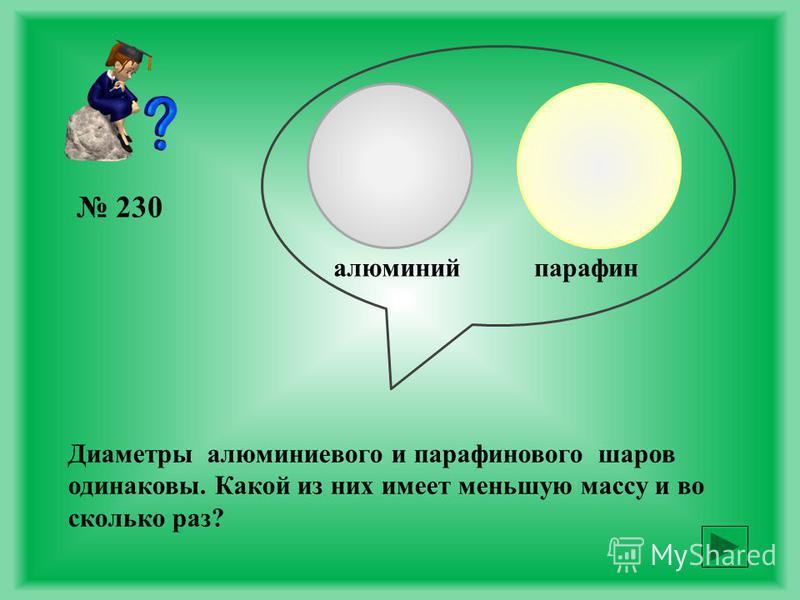 228 Даны два кубика одинаковой массы: один из янтаря, другой из меди. У какого из кубиков масса вещества в объеме 1 см 3 больше и во сколько раз?