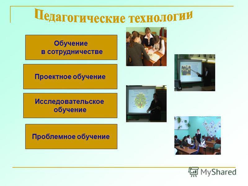 Проектное обучение Обучение в сотрудничестве Исследовательское обучение Проблемное обучение