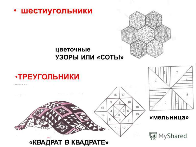 шестиугольники ТРЕУГОЛЬНИКИ «КВАДРАТ В КВАДРАТЕ» цветочные УЗОРЫ ИЛИ «СОТЫ» «мельница»