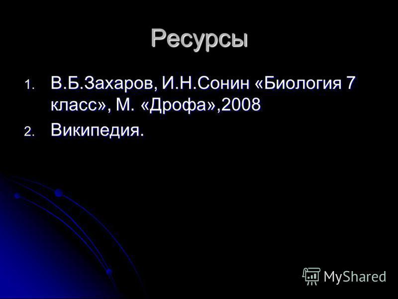 Ресурсы 1. В.Б.Захаров, И.Н.Сонин «Биология 7 класс», М. «Дрофа»,2008 2. Википедия.
