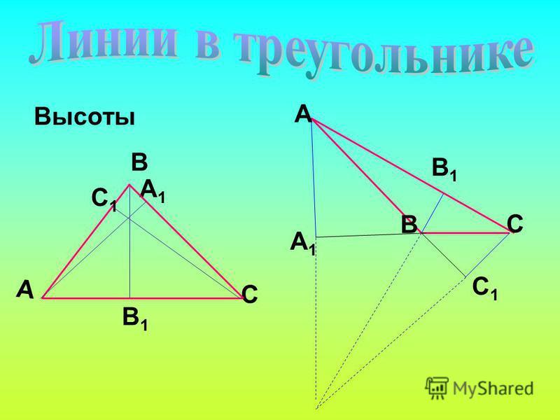 Высоты А В С В1В1 С1С1 А1А1 А С В А1А1 С1С1 В1В1