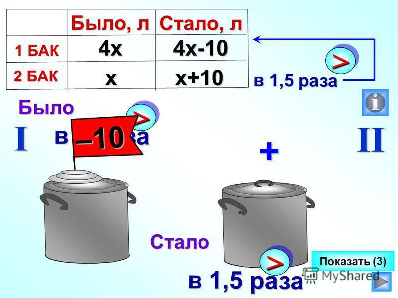 >> в 4 раза I II Показать (3)Было Стало –10 + >> в 1,5 раза х 4 х 4 х 4 х-10 х+10 Было, л 1 БАК 1 БАК 2 БАК 2 БАК Стало, л >> в 1,5 раза