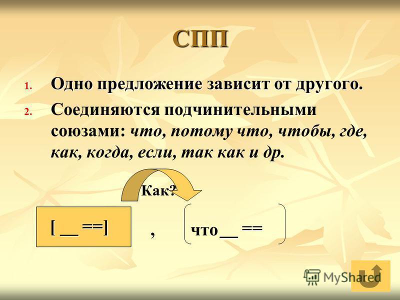 СПП 1. Одно предложение зависит от другого. 2. 2. Соединяются подчинительными союзами: что, потому что, чтобы, где, как, когда, если, так как и др. [ __ ==] __ ==, что Как?