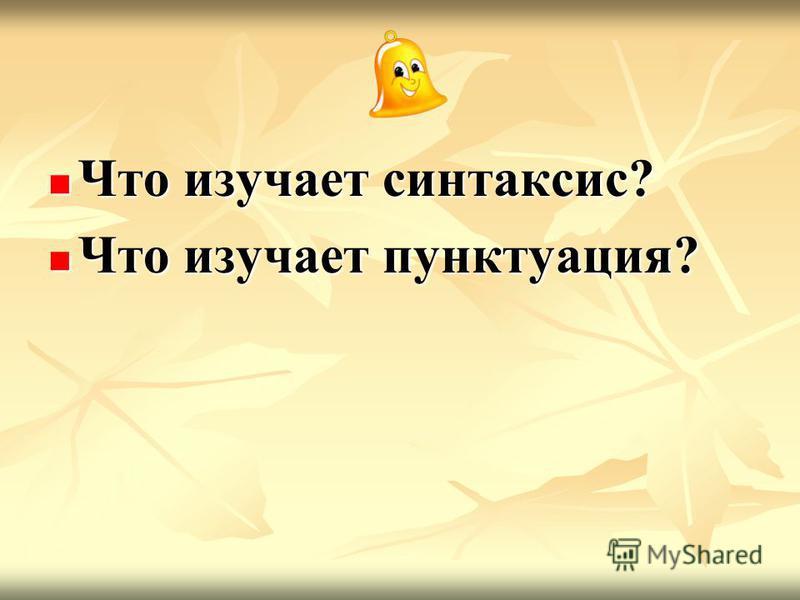 Что изучает синтаксис? Что изучает синтаксис? Что изучает пунктуация? Что изучает пунктуация?