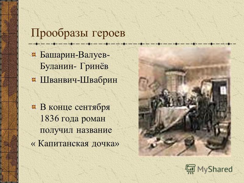 Прообразы героев Башарин-Валуев- Буланин- Гринёв Шванвич-Швабрин В конце сентября 1836 года роман получил название « Капитанская дочка»