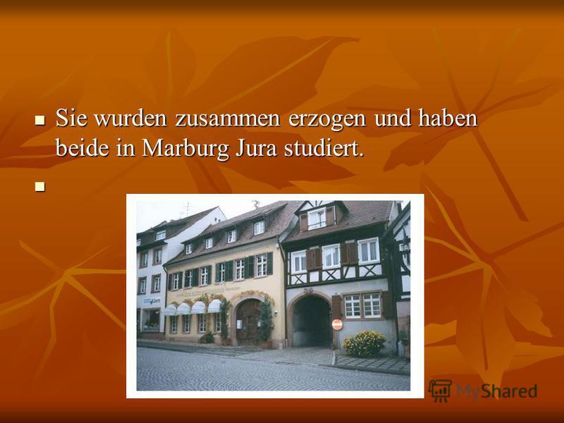 Sie wurden zusammen erzogen und haben beide in Marburg Jura studiert. Sie wurden zusammen erzogen und haben beide in Marburg Jura studiert.