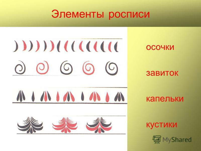 Элементы росписи носочки завиток капельки кустики