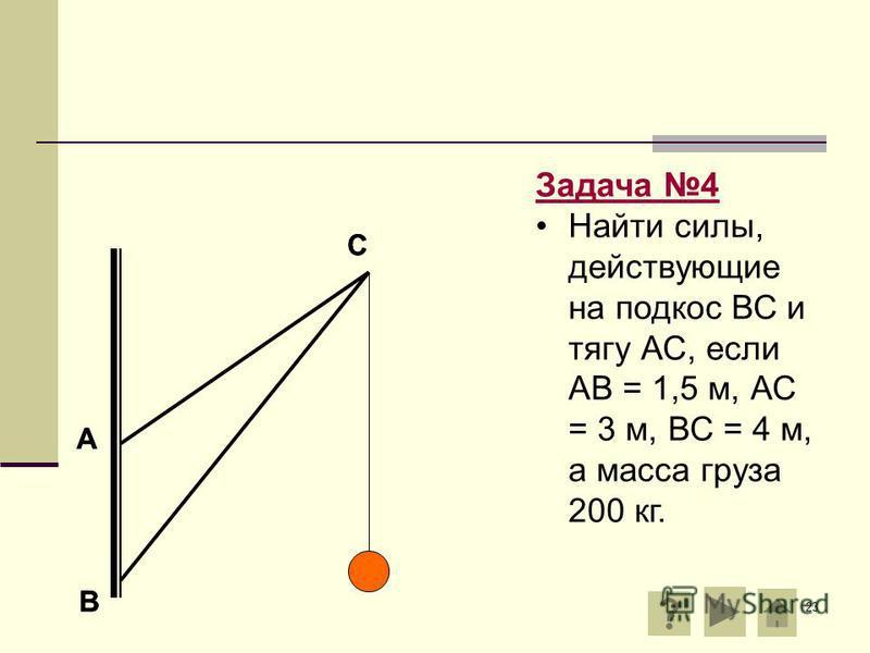 23 А В С Задача 4 Найти силы, действующие на подкос ВС и тягу АС, если АВ = 1,5 м, АС = 3 м, ВС = 4 м, а масса груза 200 кг. А В С