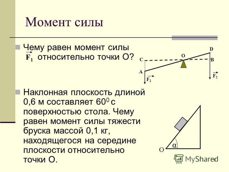 8 Момент силы Чему равен момент силы относительно точки О? Наклонная плоскость длиной 0,6 м составляет 60 0 с поверхностью стола. Чему равен момент силы тяжести бруска массой 0,1 кг, находящегося на середине плоскости относительно точки О. α О А В С