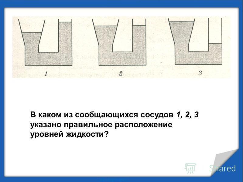 В каком из сообщающихся сосудов 1, 2, 3 указано правильное расположение уровней жидкости?
