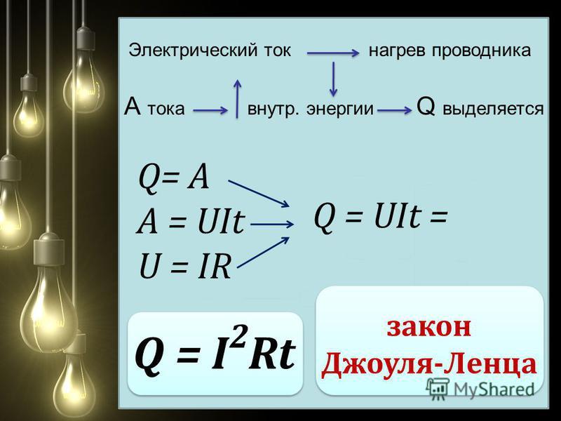 Электрический ток нагрев проводника А тока внутр. энергии Q выделяется Q= А А = UIt U = IR Q = UIt = Q = I Rt 2 закон Джоуля-Ленца