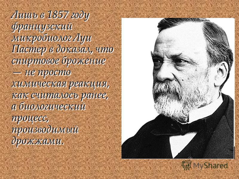 Лишь в 1857 году французский микробиолог Луи Пастер в доказал, что спиртовое брожение не просто химическая реакция, как считалось ранее, а биологический процесс, производимый дрожжами.