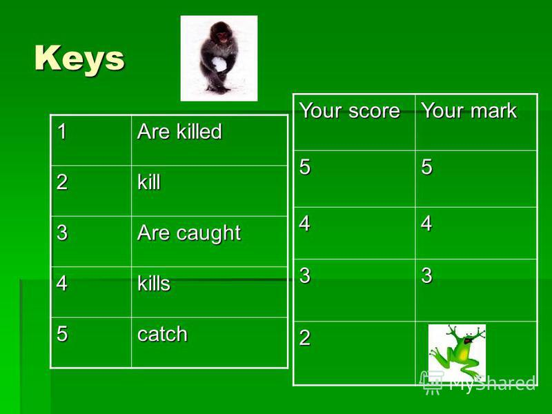 Keys 1 Are killed 2kill 3 Are caught 4kills 5catch Your score Your mark 55 44 33 2
