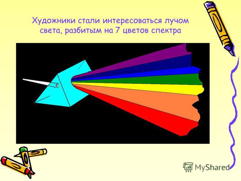 Художники стали интересоваться лучом света, разбитым на 7 цветов спектра