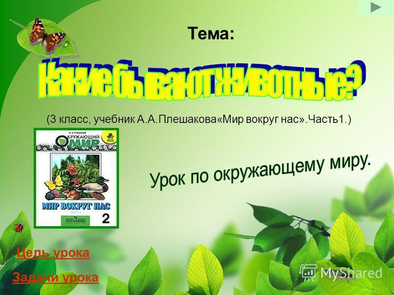 (3 класс, учебник А.А.Плешакова«Мир вокруг нас».Часть 1.) Тема: Цель урока Задачи урока