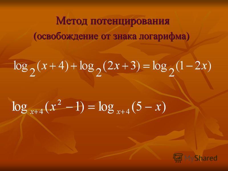Метод потенцирования Метод потенцирования (освобождение от знака логарифма)