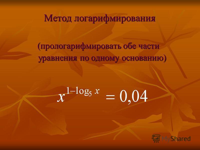 Метод логарифмирования Метод логарифмирования (прологарифмировать обе части уравнения по одному основанию)