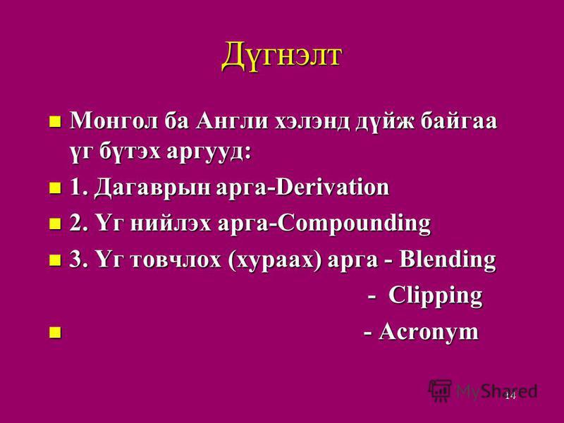Дүгнэлт Монгол ба Англи хэлэнд дүйж байгаа үг бүтэх аргууд: Монгол ба Англи хэлэнд дүйж байгаа үг бүтэх аргууд: 1. Дагаврын арга-Derivation 1. Дагаврын арга-Derivation 2. Үг нийлэх арга-Compounding 2. Үг нийлэх арга-Compounding 3. Үг товчлох (хураах)