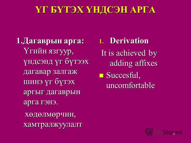 ҮГ БҮТЭХ ҮНДСЭН АРГА 1.Дагаврын арга: Үгийн язгуур, үндсэнд үг бүтээх дагавар залгаж шинэ үг бүтэх аргыг дагаврын арга гэнэ. хөдөлмөрчин, хамтралжуулалт хөдөлмөрчин, хамтралжуулалт 1. Derivation It is achieved by adding affixes Succesful, uncomfortab