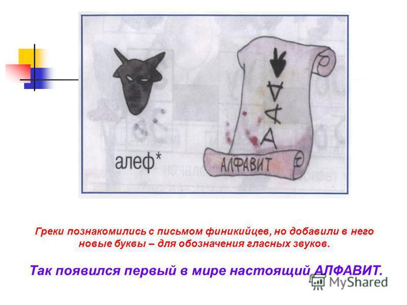 Греки познакомились с письмом финикийцев, но добавили в него новые буквы – для обозначения гласных звуков. Так появился первый в мире настоящий АЛФАВИТ.