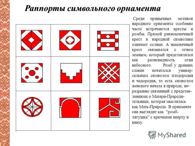 Раппорты символьного орнамента Среди привычных мотивов народного орнамента особенно часто встречаются кресты и ромбы. Прямой равноконечный крест в народной символике означает солнце. А наконечный крест связывался с огнем земным, который представлялся