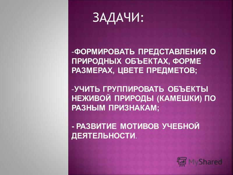 ЗАДАЧИ: -ФОРМИРОВАТЬ ПРЕДСТАВЛЕНИЯ О ПРИРОДНЫХ ОБЪЕКТАХ, ФОРМЕ РАЗМЕРАХ, ЦВЕТЕ ПРЕДМЕТОВ; -УЧИТЬ ГРУППИРОВАТЬ ОБЪЕКТЫ НЕЖИВОЙ ПРИРОДЫ (КАМЕШКИ) ПО РАЗНЫМ ПРИЗНАКАМ; - РАЗВИТИЕ МОТИВОВ УЧЕБНОЙ ДЕЯТЕЛЬНОСТИ.