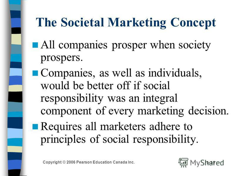 Copyright © 2006 Pearson Education Canada Inc. 1-15 The Societal Marketing Concept All companies prosper when society prospers. Companies, as well as individuals, would be better off if social responsibility was an integral component of every marketi