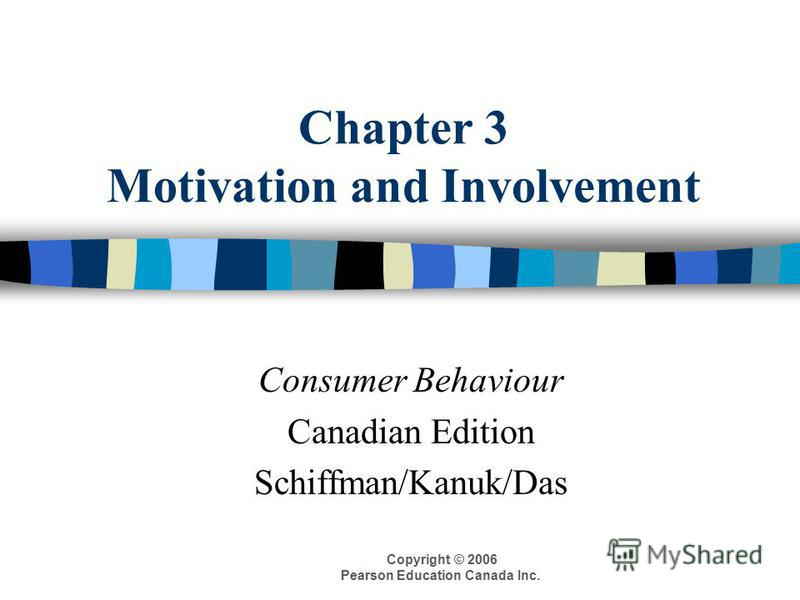 Copyright © 2006 Pearson Education Canada Inc. Chapter 3 Motivation and Involvement Consumer Behaviour Canadian Edition Schiffman/Kanuk/Das