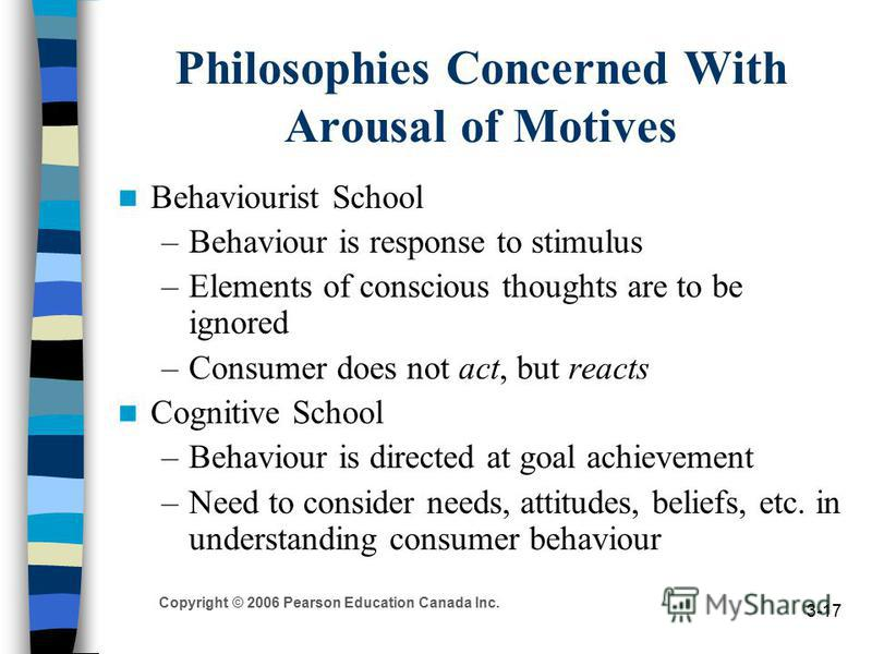 Copyright © 2006 Pearson Education Canada Inc. 3-17 Philosophies Concerned With Arousal of Motives Behaviourist School –Behaviour is response to stimulus –Elements of conscious thoughts are to be ignored –Consumer does not act, but reacts Cognitive S
