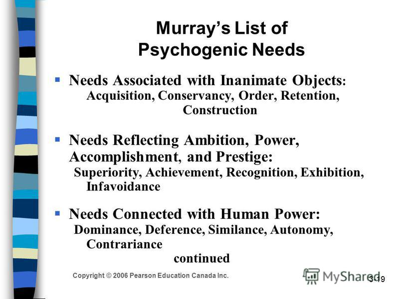 Copyright © 2006 Pearson Education Canada Inc. 3-19 Murrays List of Psychogenic Needs Needs Associated with Inanimate Objects : Acquisition, Conservancy, Order, Retention, Construction Needs Reflecting Ambition, Power, Accomplishment, and Prestige: S