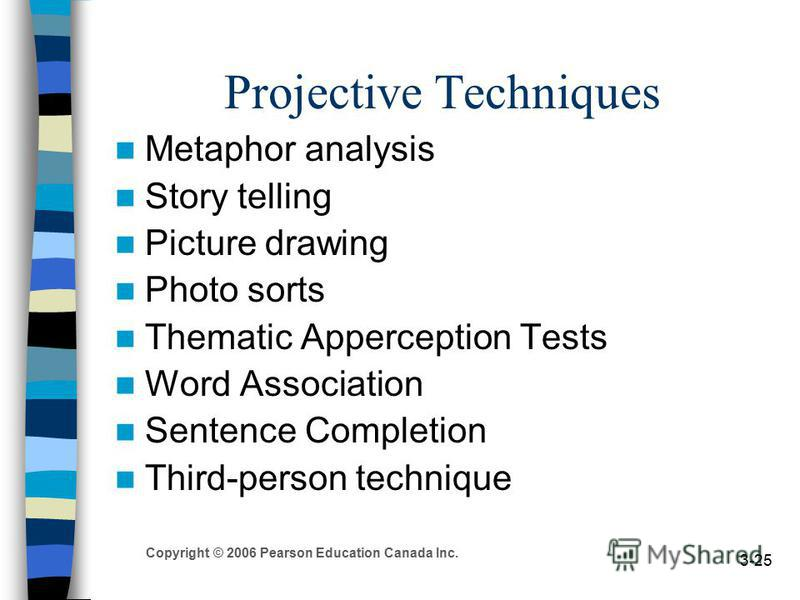 Copyright © 2006 Pearson Education Canada Inc. 3-25 Projective Techniques Metaphor analysis Story telling Picture drawing Photo sorts Thematic Apperception Tests Word Association Sentence Completion Third-person technique