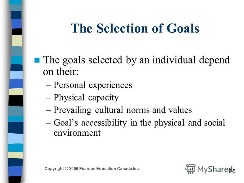 Copyright © 2006 Pearson Education Canada Inc. 3-9 The Selection of Goals The goals selected by an individual depend on their: –Personal experiences –Physical capacity –Prevailing cultural norms and values –Goals accessibility in the physical and soc