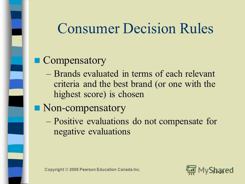 Copyright © 2006 Pearson Education Canada Inc. 14-20 Consumer Decision Rules Compensatory –Brands evaluated in terms of each relevant criteria and the best brand (or one with the highest score) is chosen Non-compensatory –Positive evaluations do not
